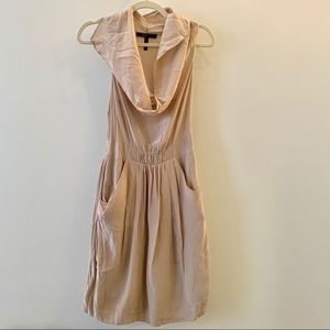 Tan silk dress with flowy front scoop neck